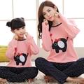 Pijama de Natal da família Set Mãe e Filha Combinando Roupas Mãe Filho Bebê Pijamas Camisas do Estilo Coreano Bonito Encantador Roupas