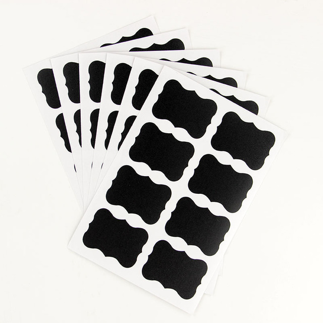 TIE LER 48PCS/Set Blackboard Sticker Craft Kitchen Jar Organizer Labels Chalkboard Chalk Board Stickers Black