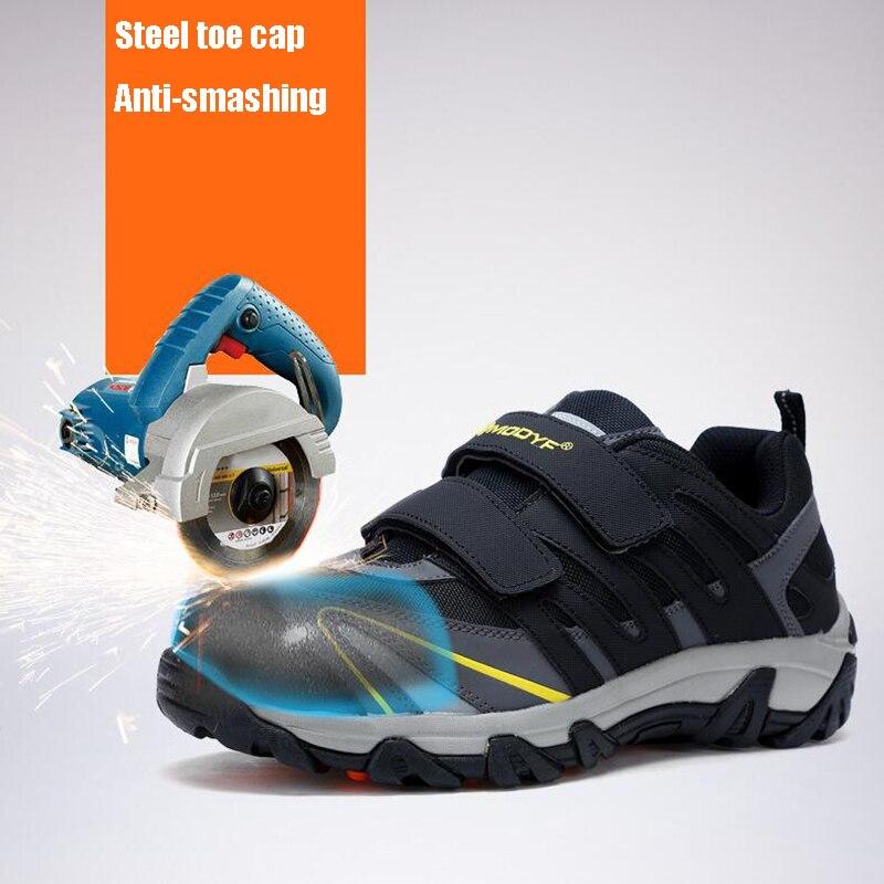 deslizamento Marca Botas Aço Ao Modfy Biqueira Calçado Trabalhadores De amp; Da Sapatos Black Livre Anti Ar Segurança Construção furo Os Trabalho Para Protecção dp1qd
