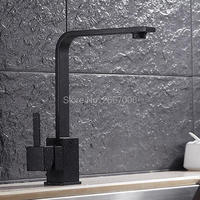 Free Shipping Good Quality Square Bathroom Kitchen Faucet Single Handle Lavatory Sink Mixer Taps Black Faucet