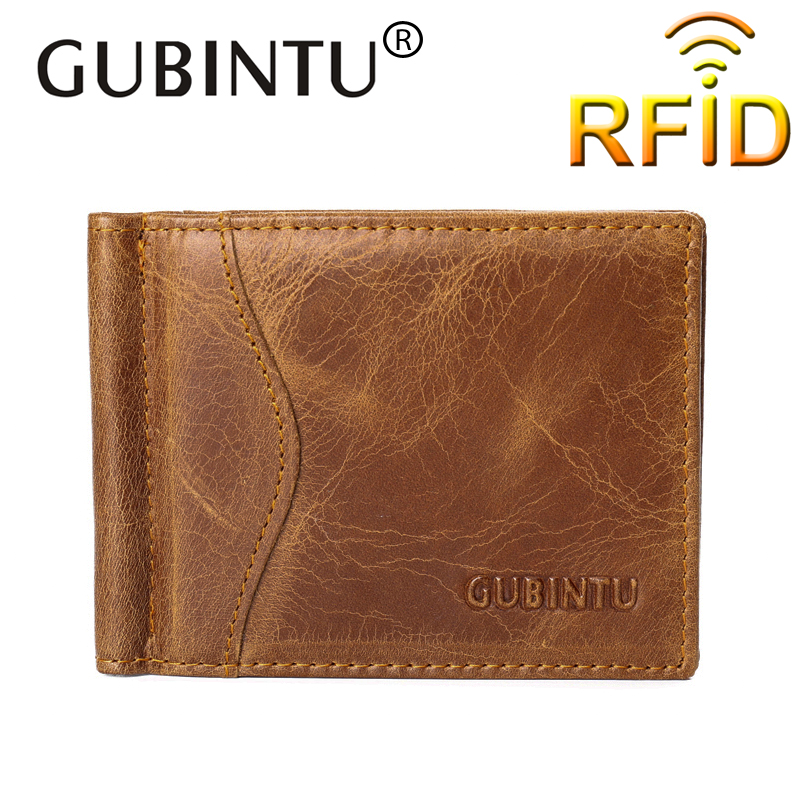 Rfid GUBINTU 100% <font><b>Genuine</b></font> Leather Money <font><b>Clip</b></font> Famous Brand Wallet leather Id Credit Card Slots Clamp for Money Fashion style new