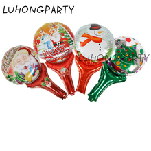 10pcs Christmas Party Santa Claus Snowman hand stick holding foil balloon kids gifts favor Merry LUHONGPARTY