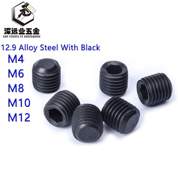 DIN913 Set Screws M4 M6 M8 M10 M12 12.9 Alloy Steel With Black GB77 UNF Thread Grub Screws Flat Point Hexagon Socket Set Screws image