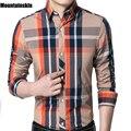 Mountainskin primavera 2017 camisa de algodão dos homens da longo-luva camisa xadrez masculino magro sólidos casual turn-down collar marca clothing sa129