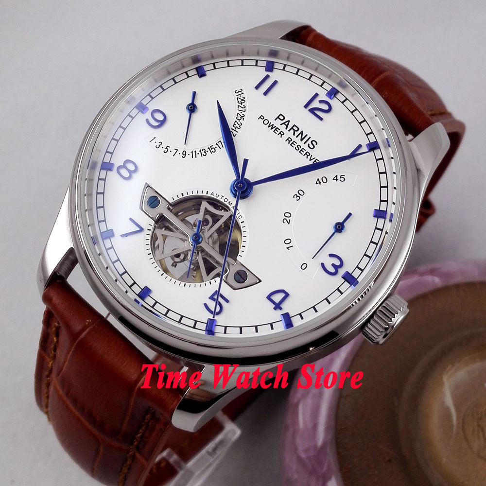 PARNIS watch Power Reserve 43mm White dial blue hands ST2505 Automatic Self-Winding movement Mens watch 13 relogio masculinoPARNIS watch Power Reserve 43mm White dial blue hands ST2505 Automatic Self-Winding movement Mens watch 13 relogio masculino