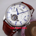 Parnis watch 43mm power reserve White dial date Automatic Self-Wind  Men's watch 13 relogio masculino