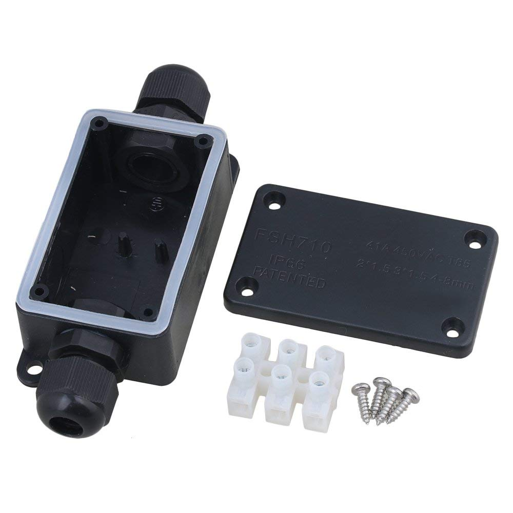 IP65  Plastic Cable Wire Connector Waterproof Black Gland Electrical 2-Cable PA9-03 Terminal Junction Box