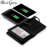 BISI GORO 2018 Men Women Smart Wallet With USB F Charging Wallet Adapt For Ipone And Android Capacity 4000 mAh Creative Wallet