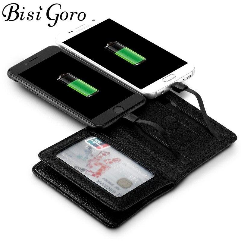 BISI GORO 2019 Hommes Femmes Smart Portefeuille Avec USB F De Charge Portefeuille S'adapter Pour Ipone Et Android Capacité 4000 mAh creative Portefeuille