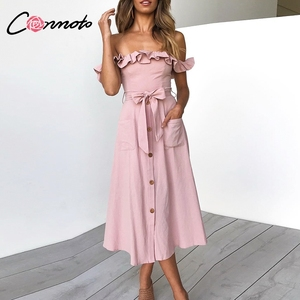 Image 1 - Conmoto Vintage à volants Sexy épaule dénudée longue robe femmes 2019 été fille fête Maxi robe Empire ceintures robe mi longue Vestidos