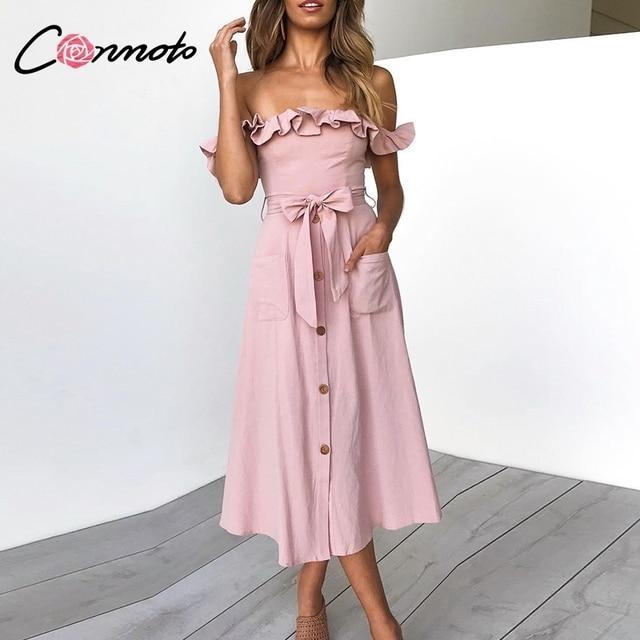 Conmoto Vintage à volants Sexy épaule dénudée longue robe femmes 2019 été fille fête Maxi robe Empire ceintures robe mi longue Vestidos
