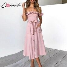 Conmoto falbana w stylu vintage Sexy Off ramię długa sukienka kobiety 2019 letnia dziewczyna Party Maxi sukienka imperium skrzydła Midi sukienka Vestidos