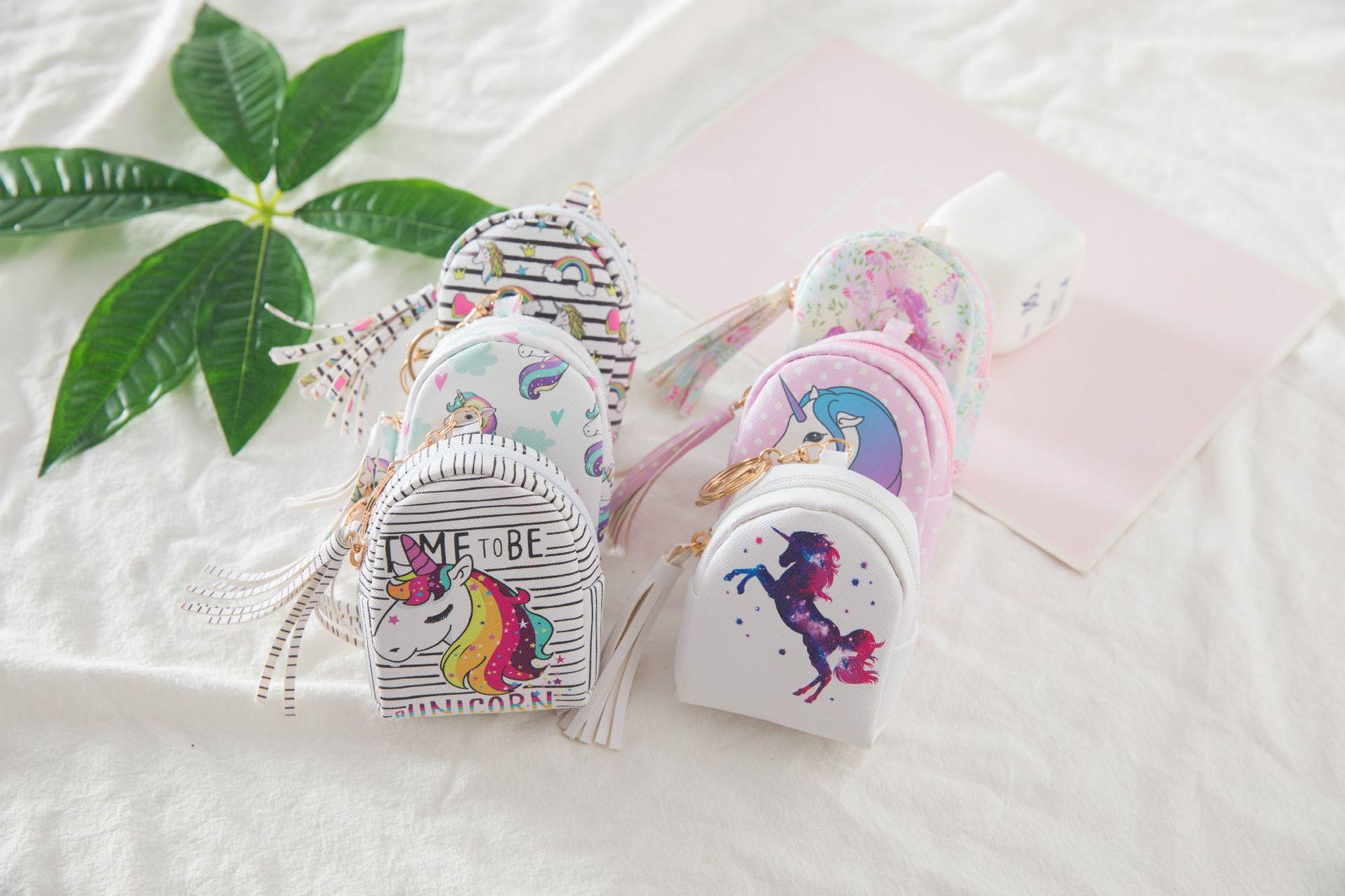 2018 new kids coin bag fashion cartoon cute unicorn children zero wallet pu key bag with nylon material inside girls purse