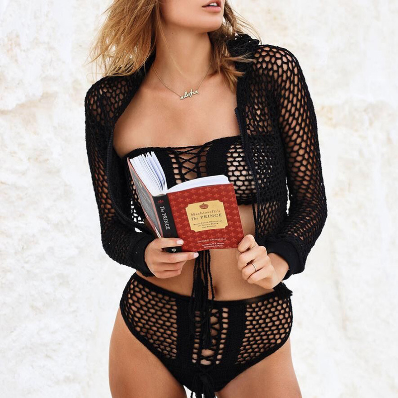 hollow out crochet wrap chest lace up sexy hot women tank top cover up bathing suit(2)