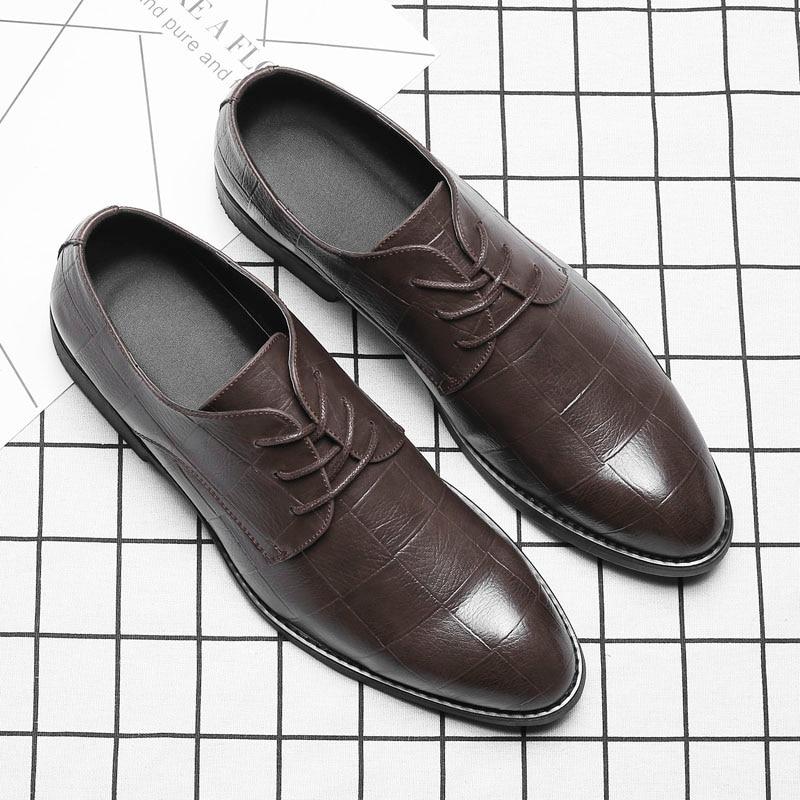 De Luxe Noir Marque Cuir Classique Designer Chaussures Sociale brown En Élégant Hommes Msw8118111 tFnqI6Uw