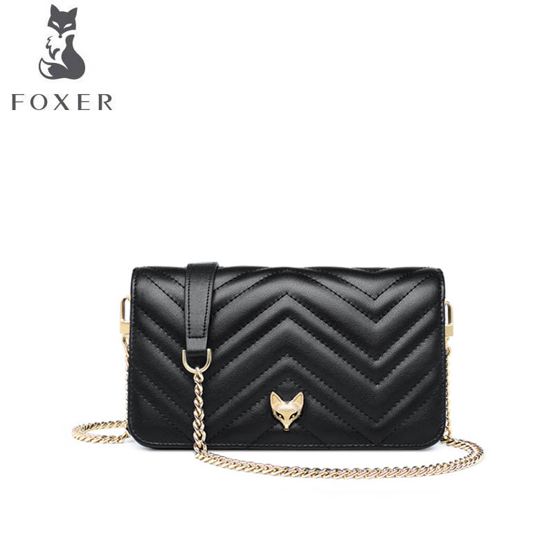купить FOXER 2018 New women leather bag luxury handbags designer small bag Handbags shoulder bag fashion chains women leather handbags по цене 3942.5 рублей
