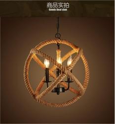 Amerykański styl industrialny retro żelazna konopna zawieszka na sznurku okrągła restauracja cafe bar retro osobowość schody oświetlenie E14 3 lampy
