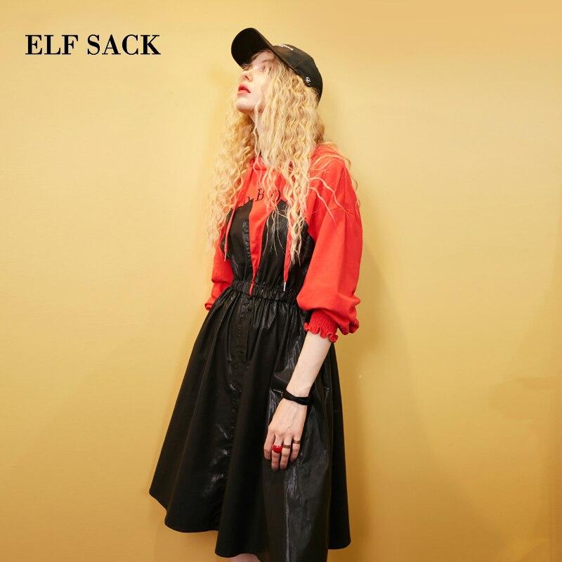ELF SACK Autumn New Women Dress Cotton Casual Full A line Letter Woman Dresses Mid Calf