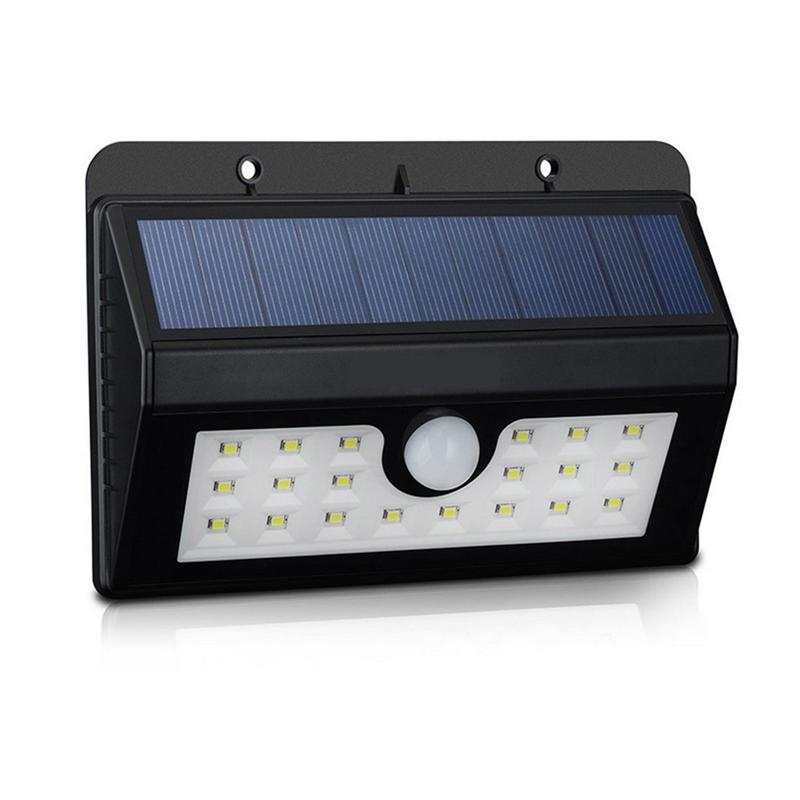 20 LED Wall Sconce Solar Powered Wall Light Lamp Body Induction Motion Sensor Outdoor Light for Garden Deck, Yard, Patio (Black)