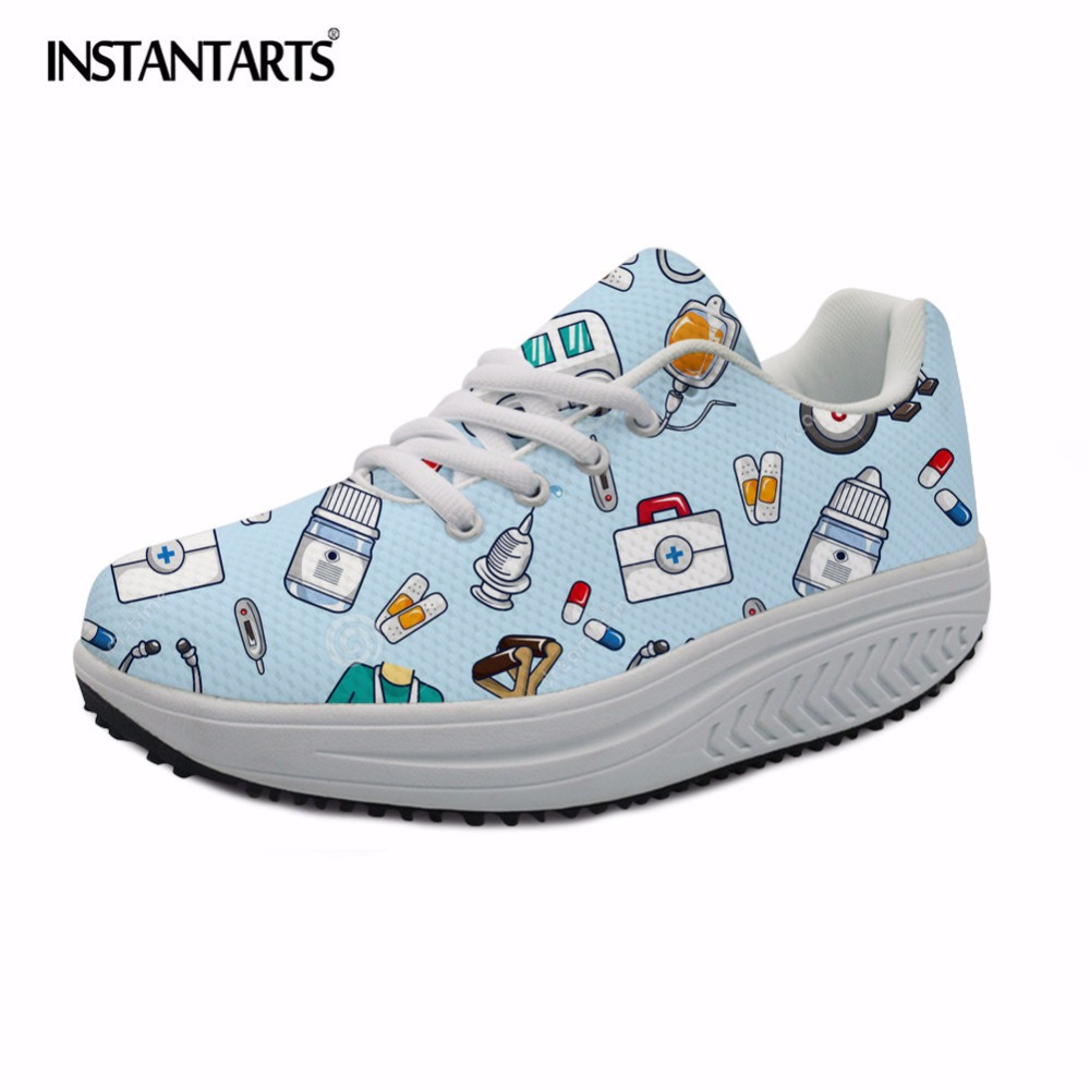 INSTANTARTS Women Flats Swing Shoes Spring Casual Brand Nurse 3D Print Height Increasing Slimming Shoes for Women Platform Shoes instantarts women flats emoji face smile pattern summer air mesh beach flat shoes for youth girls mujer casual light sneakers