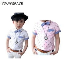 2016 New Design Boys Summer Anchor Pattern Dress Wedding Shirts with Bow Tie Gentle Kids Formal Summer Wedding Dress Shirts,C183