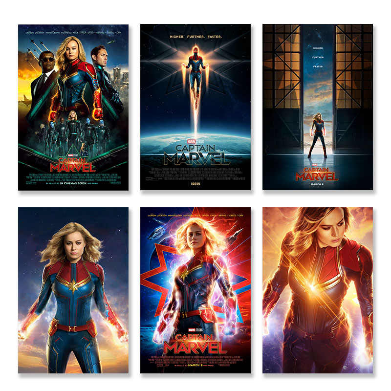 2019 Captain Marvel Movie Superhero Silk Poster Wall Art for Living Room Bedroom Decorating Picture Home Decor