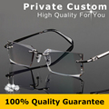 Excellence Eye Glasses Frame For Men Gray High Clear Lens Rimless Business Diamante Prescription Eyewear Rhinestone Eyeglass 858