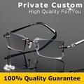 Excellence Eye Glasses Frame For Men Gray High Clear Lens Rimless Business Diamante Prescription Eyewear Rhinestone Eyeglass 858