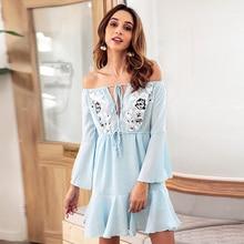 Lady plus size female dress chiffon flare sleeve slash neck ruffled elegant blue women appliques off shoulder dress vestidos plus size brief slash pockets blue dress
