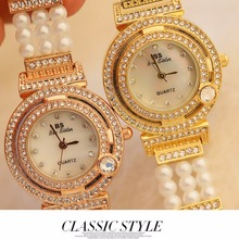 Luxury Gold ladies Watch New Pearl Band Casual Womens Watches Female Bracelet Rhinestone Quartz Wristwatch dames horloges