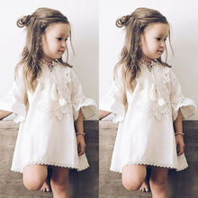 2019 Toddler Baby Girl Dress Princess Dress Lace Flared Slee