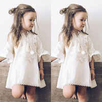 2019 Toddler Baby Girl Dress Princess Dress Lace Flared Sleeve Party Dress Sundress