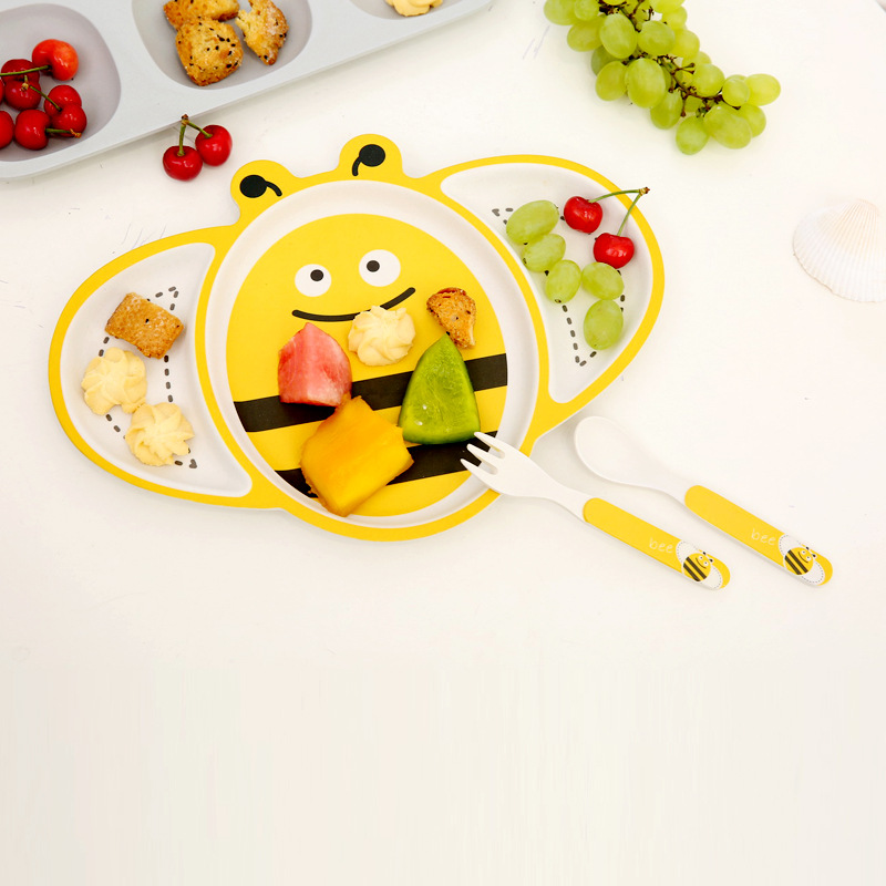 3pcs / Set Cartoon Bees Children's Tablewares Bamboo Fiber Set Plate Forks Spoon Dinnerware Feeding Food Container Cutlery