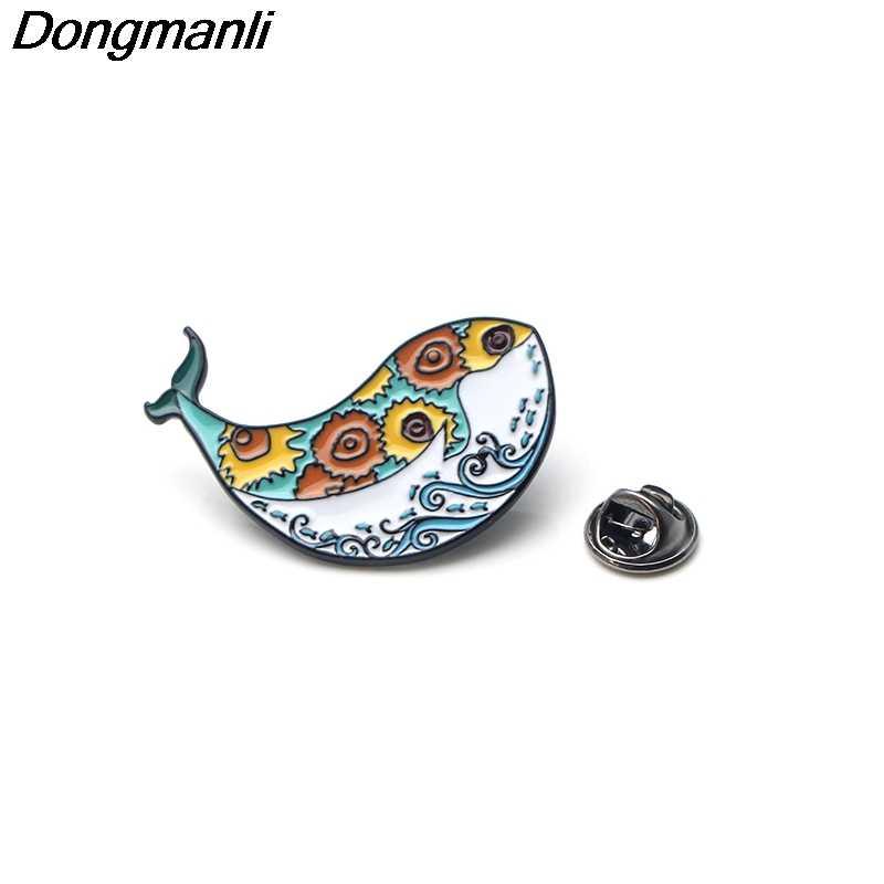 Dmlsky Van Gogh Bunga Matahari Whale Pin Lencana Lucu Kemeja Kerah Pin Ikon Di Ransel Pin untuk Pakaian M2591