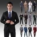 Высокое качество ( куртки + брюки ) 2015 новые мужские костюмы тонкий смокинг мода невесты жених бизнес свадьбы жених костюмы