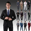 Buena calidad ( chaquetas + pantalones ) 2015 nuevos hombres de trajes delgado Tuxedo Custom Fit marca moda novio de la novia de negocios de la boda trajes
