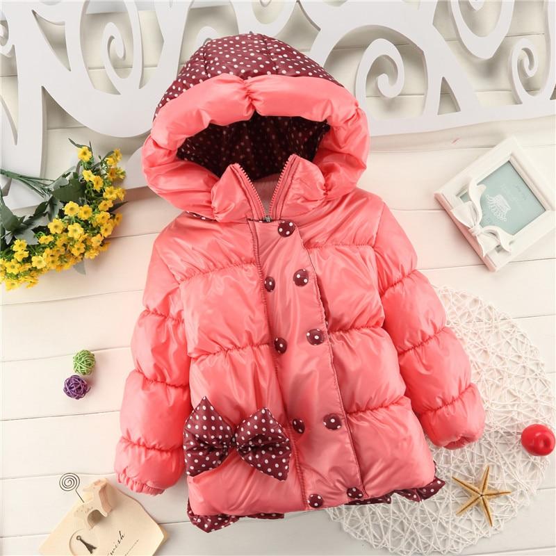 الأطفال ملابس الأطفال طفل الفتيات الشتاء معاطف بأكمام طويلة مع القوس فتاة دافئة الطفل سترة ملابس خارجية ملابس الأطفال سميكة مقنعين