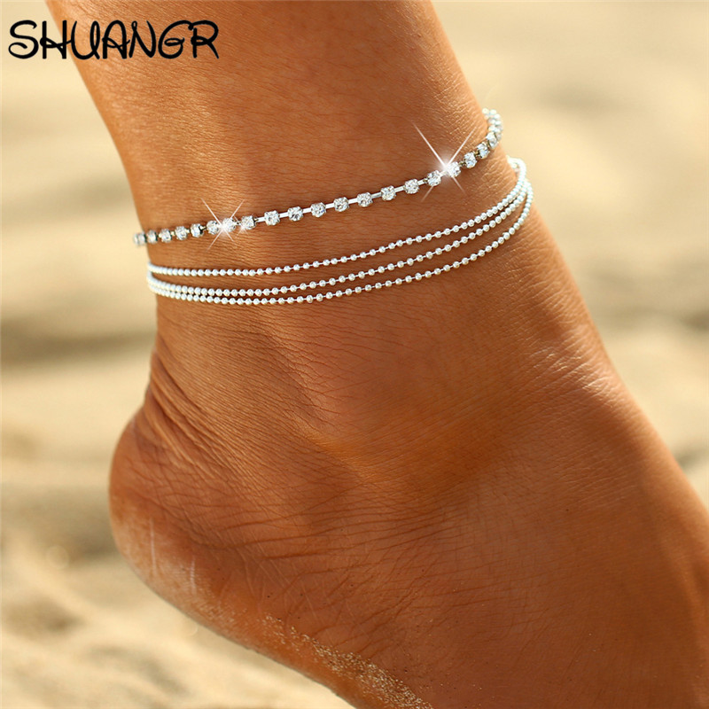 SHUANGR 2017 Trendy Hamsa Anklet Bracelet On The Leg For Women Fashion Gold Color Chian On Foot Girl Beach Ankle Bracelet