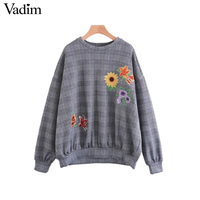 Vadim Retro Sun Floral Embroidery Plaid Oversized Sweatshirt Houndstooth Elastic Knitted O Neck Pullovers Loose Tops