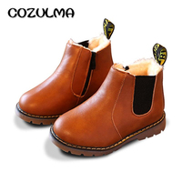 COZULMA Autumn Winter Boys Girls Sneakers Kids Sneakers Child Boys Girls Martin Boots Handmade Leather Boots