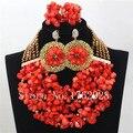 Boda Nigeriano Beads Africanos Joyería Conjunto Rojo precioso Coral Conjunto de Joyas de Cristal C001289 Novias Regalo de La Joyería Fija El Envío Libre