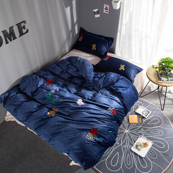 Luxury Fleece fabric Embroidery Bedding set winter Bed set King Queen Size warm Duvet cover Bedsheet set
