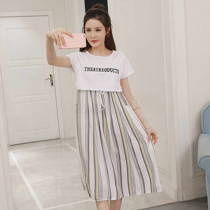 9ce5bfddb39 Detail Feedback Questions about Summer Korean Fashion Striped Cotton  Maternity Nursing Dress Clothes for Pregnant Women Pregnancy Breast Feeding  Clothing on ...