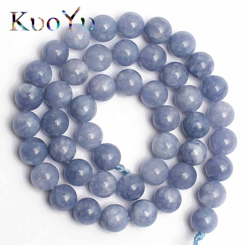 "Natural Angelite Beads Loose Stone Beads For Jewelry Making 15"" inches 6 8 10 12mm Diy Bracelets Pendant Necklace Wholesale"