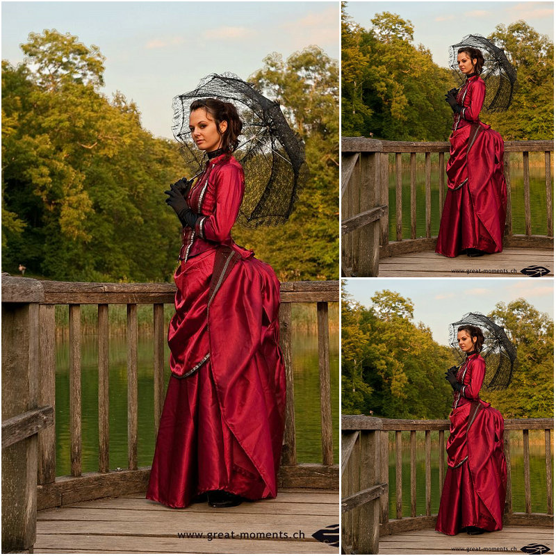 Cliente per ordinare! 19 Secolo Rosso Vintage Costumes Victorian Dress 1860S Civil War Gown Ball Dress Abiti Scarlett US4-36 C-200