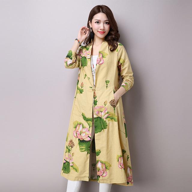 Mulheres Trench Coat V Neck Impressão Floral Saia Trincheira Outwear Outono Plus Size Mulheres Roupas de Linho de Algodão de Manga Longa