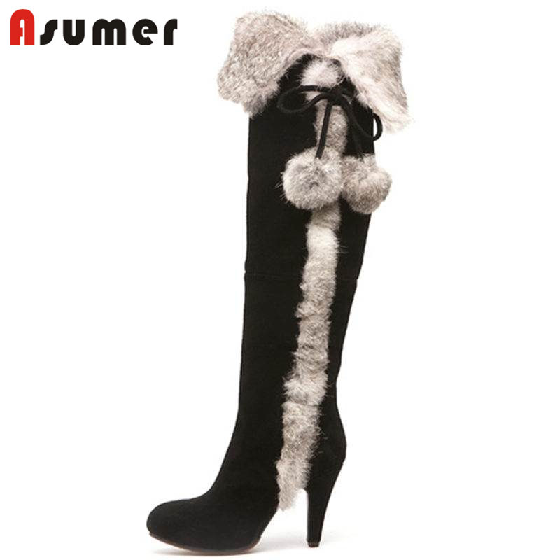 ASUMER SIZE 34-40 2018 NEW fur winter over the knee boots women cow suede leather thin high heels thigh high boots female shoes winter new leather suede sexy women over the knee boots metallic thin high heels back zipper women boots black botas shoes
