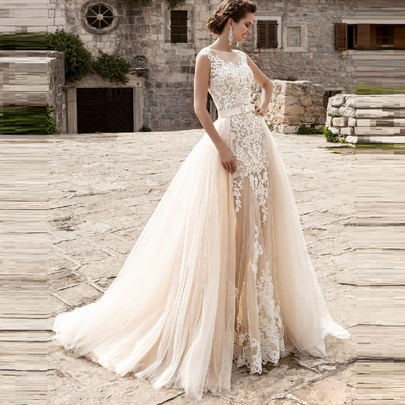 Us 228 0 Stylish Champagne Mermaid Wedding Dress With Detachable Train Removable Skirt White Lace Sexy See Through Vestidos De Noiva In Wedding