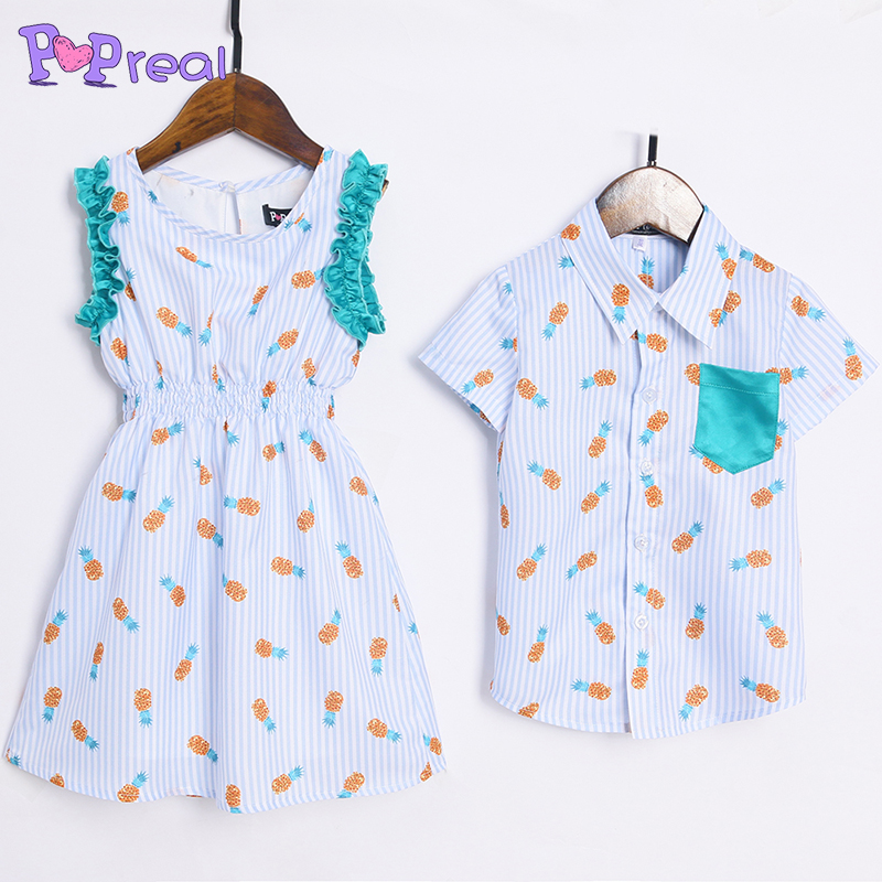 PopReal Family Matching Outfits Brother Sister Stripes Pineapple Prints Matching Outfits baby girl dress boy son t-shirt