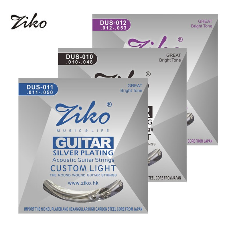 Ziko Acoustic Guitar Strings Set 010 011 012 Silver Plating 6 Strings For Acoustic Guitar Parts Musical Instruments alice a203 replacement acoustic guitar strings set for folk guitar silver bronze 6 pcs